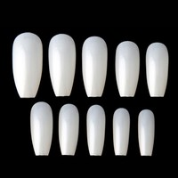 New 500pcs Ballerina Nail Tips Full Coffin Shape French Fake Nail Professional Nail Art Tip Square Style Nature False Nails Tool