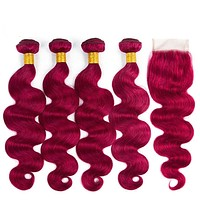 Brazilian Body Wave Pre -colored Human Hair 4 Bundles With Closure