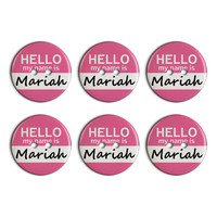 Mariah Hello My Name Is Plastic Resin Button Set of 6