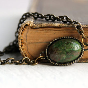 Simple Green Cabachon and Antique Gold Chain Bracelet - Handmade Fall Jewelry - Ready to Ship
