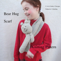 Bear Hug Scarf Knitting Pattern, Pull Through Scarf, Neck Warmer, Toddler Child Adult, Worsted Yarn