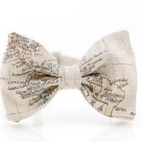 Bow Tie for Men by BartekDesign: pre tied beige old map traveler globetrotter gift