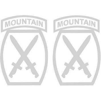 """10th Mountain Division  4"""" Clear Tail Light White Decal 2 pc."""