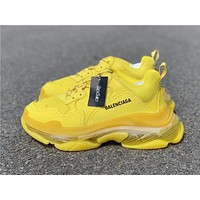 Balenciaga Triple S Clear Sole Yellow Trainers Oversized Multimaterial Sneakers With Air Bubble Inside The Sole