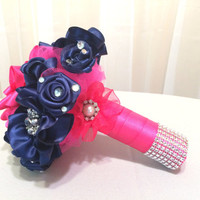 Navy blue and Hot pink satin ribbon flower bouquet with Pearl and rhinestone brooches, Hot pink pearl brooch bouquet, Navy fabric bouquet