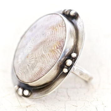 Cocktail Ring - Rare Coral Hand Cut Ethically Sourced BOLD Ring Set in Recycled Sterling Oxidized Bezel and Setting - Boho Chic