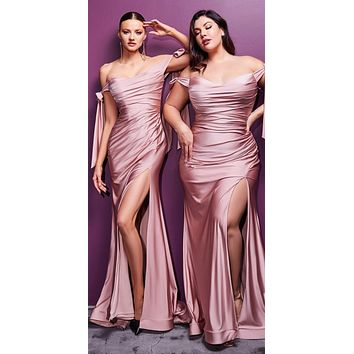 Long Fitted Stretch Jersey Formal Dress Mauve Off Shoulder Ties