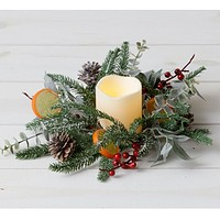 Frosted Evergreens Eucalyptus Berry Citrus Faux Ring