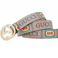 GUCCI Belt Double GG Interlock Buckle Green Red Stripe Print Letters Belt Grey