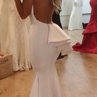 White Bow Low Back Sleeveless Maxi Gown Mermaid Dress as Seen on Jessica Burciaga - Inspired by Michael Costello