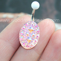 Studded Ellipse Pink AB Color Navel Jewelry,Sparkling belly ring,blingbling belly button ring,Stud Navel Piercing Ring Stud Piercing