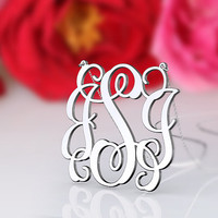 Silver fashion monogram necklace--1.5 inch 3 initial monogram jewelry customized