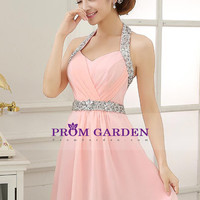 2015 Homecoming Dresses A Line Sleeveless Short/Mini Chiffon With Beading/Sequins $109.99 PGNPJXM3ZM7 - PromGarden.com