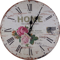 Retro Vintage Rustic Wood Wall Floral Clock ,Home Decor, Country, Kitchen