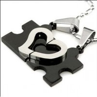 Stainless Steel Couples Love Heart Puzzle Pendant Necklace Set Bamboo Chains + Cable Chains Gift