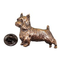 Silky Terrier Pin ~ Antiqued Copper ~ Lapel Pin