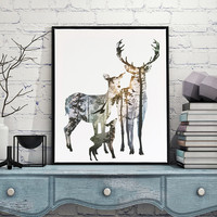 Triptych Watercolor Deer horse eagle Print Abstract Animal Pictures Canvas Painting No Frames Living Room Home Decor Wall Art