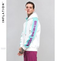 INFLATION Letter Sleeve Patchwork Hoodies 2018 Autumn Pullover Korean Harajuku Streetwear White Hooded For Men Women 8793W