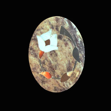 Fetco Granite Ring Box, Flower Design In Mother of Pearl, And Shell Inlay