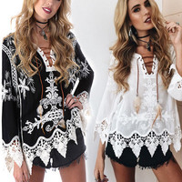 Bohemia Lace Embroidery Blouse