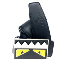 Fendi Razor Monster Belt Men 38 Black Leather Gold Buckle RM