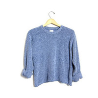 Nubby Knit Slouchy Cropped Sweater Simple Minimal Blue Pullover Shirt Plain Long Sleeve Top Basic Oversized Sweater Large