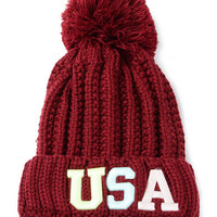 Red Neon Letter Embroidery Ball Top Knit Beanie Hat