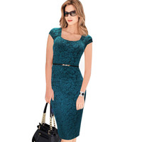 VfEmage Women Belted Elegant Floral Print Check Cap Sleeve Tunic Work Business Casual Party Pencil Sheath Wiggle Dress 288