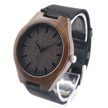 Bobobird RT0442 Men's Design Brand Luxury Wooden Bamboo Watches With Real Leather Quartz Watch in Gift Box