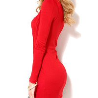 Deep V-Neck Long Sleeve Bodycon Dress