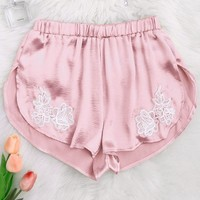 Floral Patched Satin Applique Dolphin Shorts