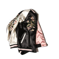 bomber jacket reversible jacket women floral embroidered satin black vintage autumn/winter basic coats chaquetas mujer clothing