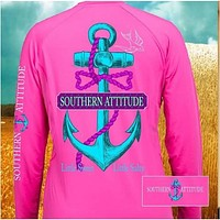 Country Life Outfitters Southern Attitude Anchor Bow Pink Vintage Girlie Bright Long Sleeves T Shirt