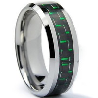 Tungsten Carbide 8mm Men's Ring with Black and Green Carbon Fiber Inlay