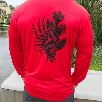 Red Lionfish UPF Dry Fit Long Sleeve Tee