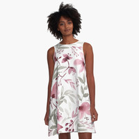 'Rustic Floral - Watercolor Flowers' A-Line Dress by Stephanie Denne