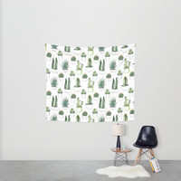 watercolour cacti and succulent Wall Tapestry by Vicky Webb