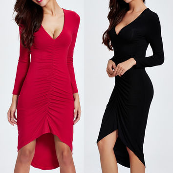 Sexy V Neck Long Sleeve Dresses