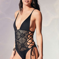 Frankies Bikinis Lilah Crocheted One-Piece Swimsuit - Urban Outfitters
