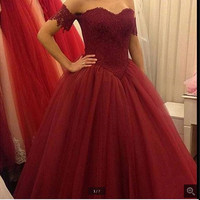 Burgundy Lace Appliques Ball Gown Cheap Prom Dresses 2016 Dark Red Off The Shoulder Short Sleeves Long prom gowns