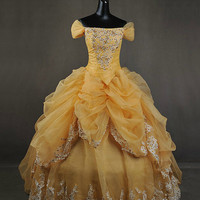 Deluxe Beauty and  the Beast  Belle Adult Cosplay Costume Gown Dress