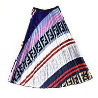 FENDI Hot Sale Women FF Letter Print High Waist Pleated Skirt