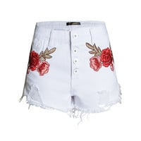 Summer Ripped Holes Irregular Denim Shorts High Waist Embroidery Jeans [11474125135]
