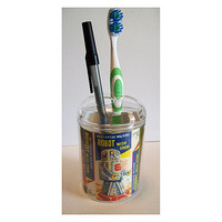 robot toothbrush holder retro vintage 1950's outer space tin toy bathroom kitsch