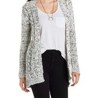 Black/Ivory Marled Chunky Cardigan Sweater by Charlotte Russe