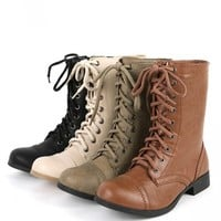 Soda Relax-s Putty Lace Up Combat Boots | MakeMeChic.com