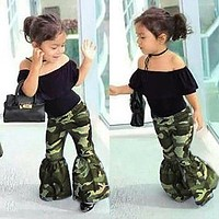 2Pcs Toddler Baby Clothes Girls Ruffle Tops+Bell Bottoms Flare Pants Outfits Set