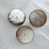 """3 Antique Abalone Metal Shank Large Coat Buttons 1 3/8"""" ca 1900"""