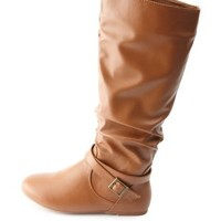 Belted Slouchy Flat Knee-High Boots by Charlotte Russe