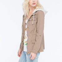 Full Tilt Roll Sleeve Womens Anorak Jacket Mocha  In Sizes